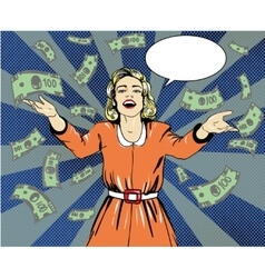 Happy woman throw money in vector