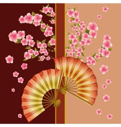 Background with fan and sakura blossom - Japanese vector image