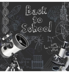 Back to school doodles on blackboard background vector