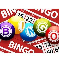 Bingo balls over red bingo cards vector