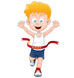 Boy winner vector image vector image