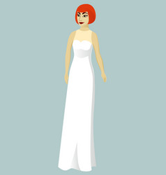 Bride in direct wedding dress vector