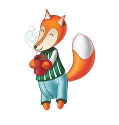 cute cartoon fox drinking coffee vector image