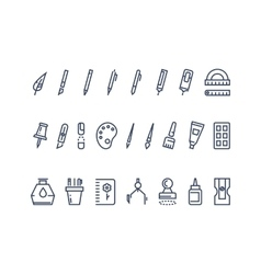 Drawing and writing tools Line icons set vector image