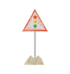 Drawing sign road light traffic sand vector