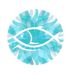 Fish on a background of waves vector