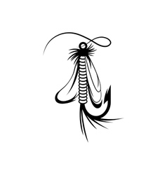 Fly fishing lure design template vector
