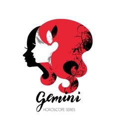 Gemini zodiac sign Beautiful girl silhouette vector image vector image