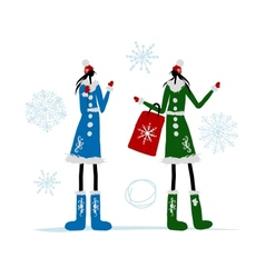 Girls in winter coat with shopping bag for your vector image