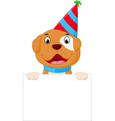 happy dog cartoon holding blank sign vector image vector image