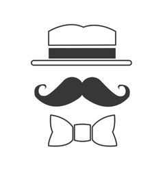 hat mustache and bowtie icon vector image