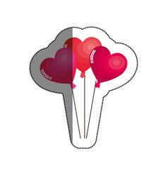 Hearts balloons air icon vector