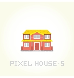 Isolated house in pixel art style 5 vector image