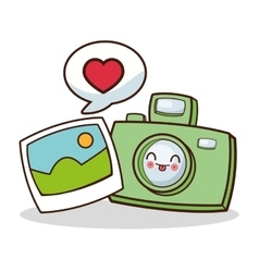 Isolated kawaii camera and picture design vector