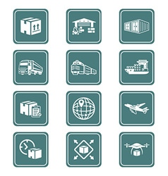 Logistics icons - TEAL series vector image