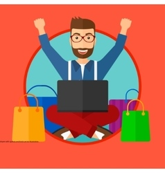 Man shopping online using his laptop vector