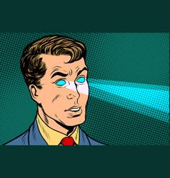 Man x-ray eyes scanning vector