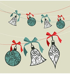 Merry Christmas decoration ribbon baubles vector image