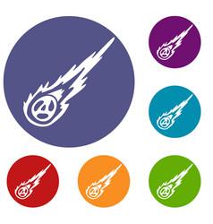 Meteorite icons set vector