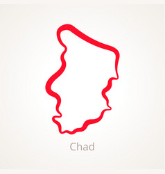 Outline map of chad marked with red line vector