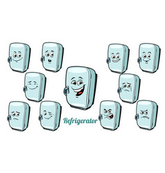 refrigerator emotions emoticons set isolated on vector image vector image