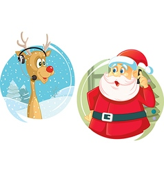 Santa Claus and the Reindeer Talking on The Phone vector image
