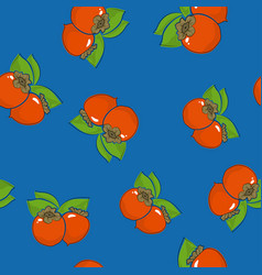 Seamless pattern persimmon on blue background vector