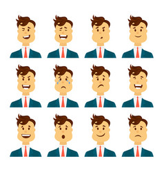 Set of male facial emotions bearded man emoji vector