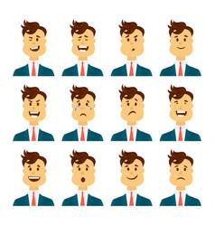 set of male facial emotions bearded man emoji vector image vector image