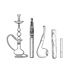 Set of smoking accessories - hookah cigarettes vector image vector image