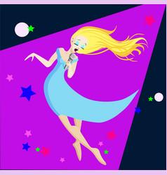 singing girl pop singer flat vector image vector image