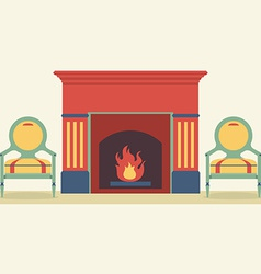 Vintage chairs and fireplace living room interior vector