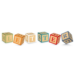 Word LETTER written with alphabet blocks vector image vector image