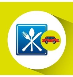 restaurant road sign sedan red vector image
