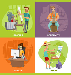 Graphic designer artist 4 icons square vector
