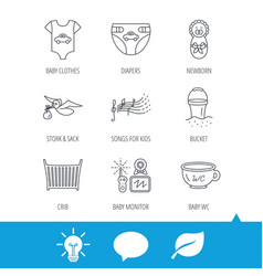Diapers newborn baby and clothes icons vector