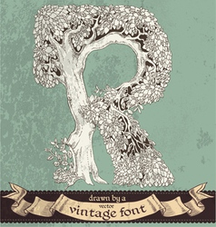 magic grunge forest hand drawn by vintage font - R vector image
