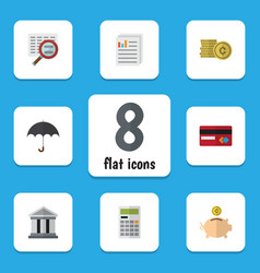 Flat exchequer set of document parasol money box vector