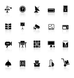 General office icons with reflect on white vector