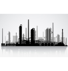 Oil refinery silhouette vector