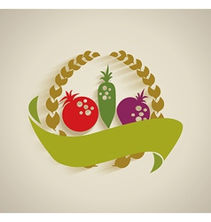 Nature vegetable label vector image