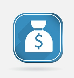 Bag of money color square icon vector