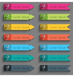 Number nine icon sign set of coloured buttons vector