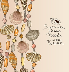 With jewelry of seashell and beads vector