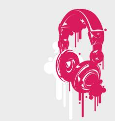 Dj headphones spray style vector