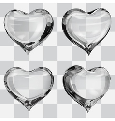 Set of transparent hearts vector
