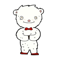 Comic cartoon little polar bear vector