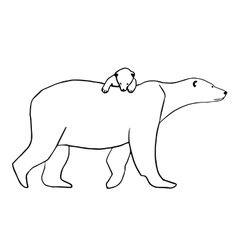 Polar bear and cub isolated vector