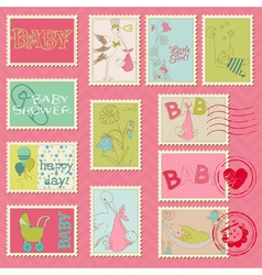 baby girl postage stamps vector image