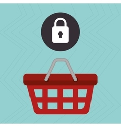 Red basket and padlock isolated icon design vector